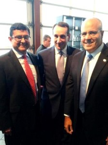 "(r) Mischler Fixed Income Trader Glen Capelo (c) Duke University Coach K"" Krzyzewski (r) Mischler CEO Dean Chamberlain"